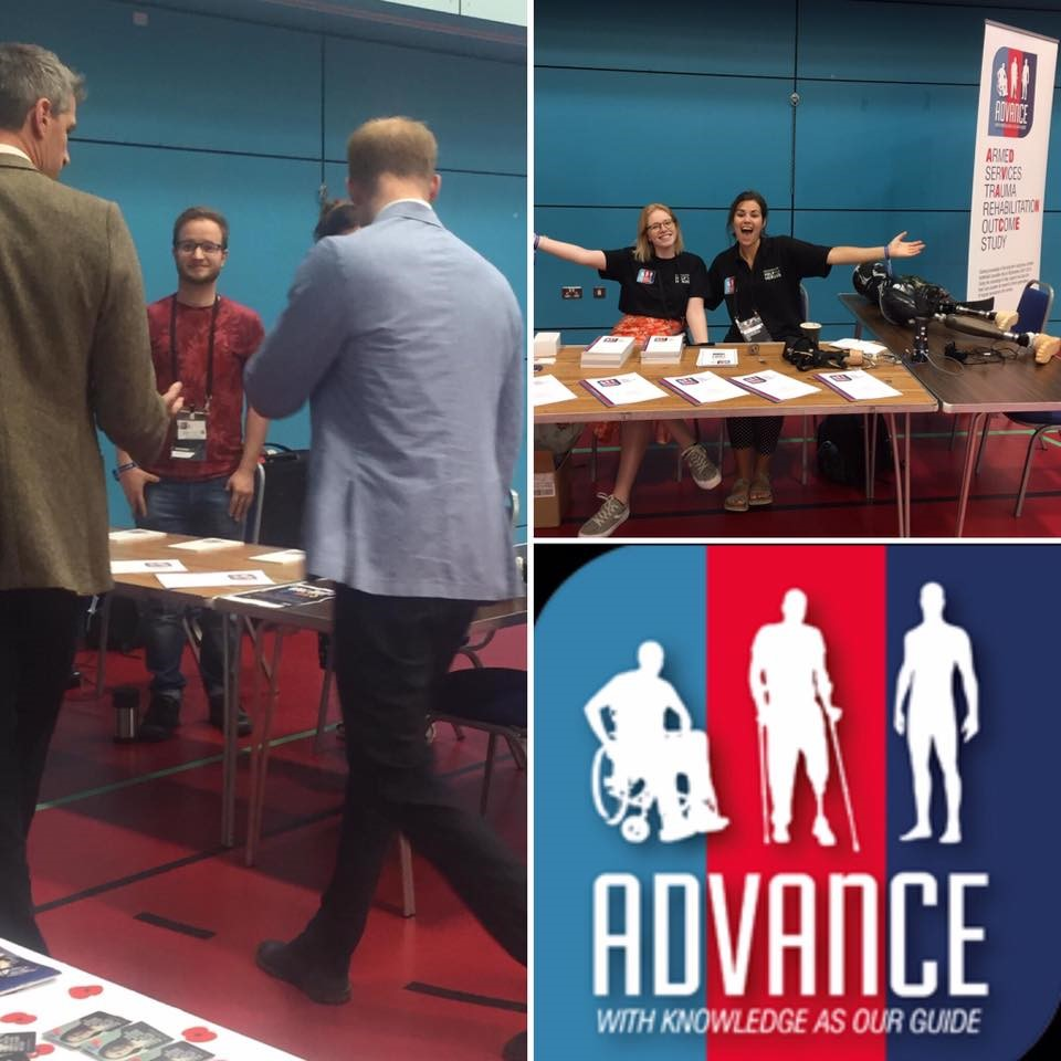 ADVANCE staff and Prince Harry at Invictus trials; ADVANCE logo